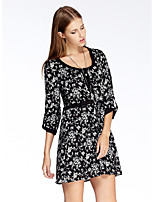 Women's Going out Simple Sheath Dress,Floral Round Neck Above Knee ¾ Sleeve Black Polyester Summer