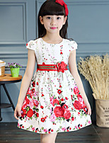 Girl's Cotton Sweet Fashion Flower Striking Floral Print Princess Dress