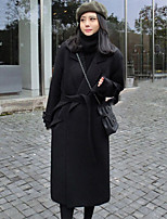 Women's Casual/Daily Simple Coat,Solid Shirt Collar Long Sleeve Winter Beige / Black Cotton Thick