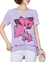 Plus Size Women's Tops Summer Casual/Daily Round Neck Short Sleeve Fake Piece Chiffon Print Blouse