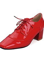 Women's Shoes Patent Leather Chunky Heel Heels / Basic Pump / Square Toe Heels Office & Career / Dress /  Red / White