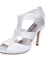 Mujer-Tacón Stiletto-Tacones / Punta AbiertaBoda / Vestido / Fiesta y Noche-Satén-Blanco