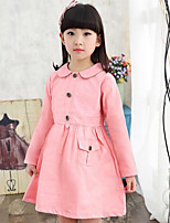 Girl's Casual/Daily Solid Dress,Cotton Spring / Fall Pink / Red / Yellow