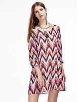 Women's Going out Simple Chiffon Dress,Print Round Neck Above Knee ¾ Sleeve Red Polyester Summer