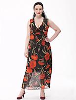 Для женщин Большие размеры Богемный Шифон Платье С принтом,Глубокий V-образный вырез Макси Без рукавов Полиэстер Лето С высокой талией