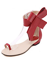 Women's Shoes PU Summer Toe Ring Sandals Party & Evening / Dress Flat Heel Bowknot Black / Red / Almond