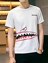 Print-Informeel-Heren-Katoen-T-shirt-Korte mouw Zwart / Wit