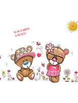 Kindergarten Cartoon Lovers Bear Flower Wall Stickers DIY Removable Children's Bedroom Wall Decals