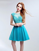 Two-Piece Dress/ Homecoming Dress Gown A-line Jewel Short / Mini with Appliques / Crystal Detailing / Lace