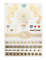 1pc Flash Metallic Waterproof Tattoo Gold Silver Lace Flower Bow Heart Diamond Temporary Tattoo Sticker YH-002