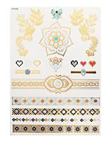 1pc Flash Metallic Waterproof Tattoo Gold Silver Lace Flower Bow Heart Diamond Temporary Tattoo Sticker YH-002