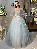 Serata formale Vestito Da ballo Con decorazione gioiello Lungo Tulle conDettagli con cristalli / Fiore (i) / Di pizzo / Drappeggio di