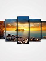 Canvas Set / Kehystämättömät Canvas-tulosta Maisema / Leisure Moderni / Realismi,5 paneeli Kanvas Vaakasuora Tulosta Art Wall Decor For