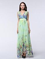 Women's Holiday / Plus Size Boho Chiffon Dress,Print Deep V Maxi Sleeveless Green Polyester Summer