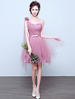 Knee-length Tulle Bridesmaid Dress A-line One Shoulder with Bow(s)