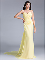 TS Couture Formal Evening Dress Trumpet / Mermaid Sweetheart Court Train Chiffon with Criss Cross