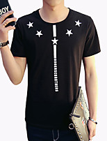 Men's Fashion Stars Print Round Collar Casual Slim Fit Short-Sleeve T-Shirt;Casual/Cotton/Plus Size