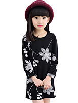 Girl's Round Collar Embroidered Floral Long Sleeve Dress