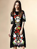 Boutique S Women's Going out Street chic A  Dress,Embroidered Round Neck Knee-length ½ Length Sleeve Polyester Summer