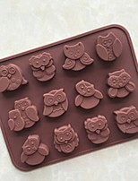 12 Holes Silicone Owl Cake Decor Mould Candy Cookies Chocolate Mold Reusable Ice Sugar Mold