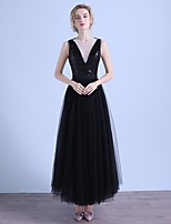 Formal Evening Dress A-line V-neck Ankle-length Tulle / Sequined with Sequins