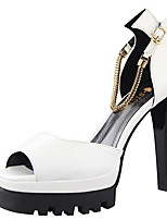 Women's Sandals Summer Sandals Patent Leather Casual Chunky Heel Others Black / White / Silver / Burgundy Others