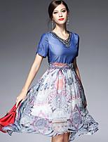AFOLD® Women's V Neck Short Sleeve Asymmetrical Dress-5589