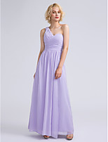 Lanting Bride Ankle-length Chiffon Bridesmaid Dress Sheath / Column One Shoulder with Criss Cross