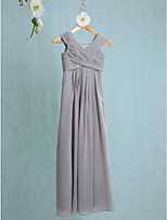 Lanting Bride Floor-length Chiffon Junior Bridesmaid Dress Sheath / Column V-neck with Side Draping