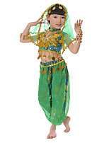 Belly Dance Outfits Kid's Chiffon Sequin 3 Pieces Sleeveless Dropped Tops Pants Headpieces
