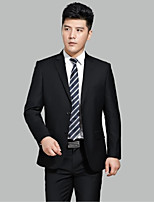 Suits Tailored Fit Notch Single Breasted Two-buttons Wool Solid 2 Pieces Black Straight Flapped None Black None