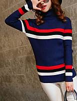 Women's Casual/Daily Cute Regular Pullover,Striped Blue / Brown Turtleneck Long Sleeve Cotton Fall / Winter Medium