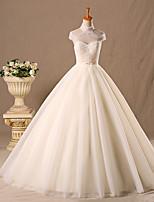 공주 웨딩 드레스 바닥 길이 끈없는 스타일 튤 와 비즈