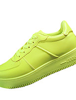 Women's Flats Spring / Summer / Fall / Winter Comfort PU / Fabric Casual Flat Heel Lace-up White / Light Green