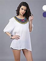 # Women's Crew Neck 1/2 Length Sleeve Shirt & Blouse Blue / White-42195834457