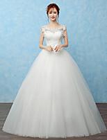 볼 드레스 웨딩 드레스 바닥 길이 스쿱 레이스 / 새틴 / 튤 와 비즈 / 레이스