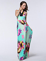 Women's Beach / Plus Size Boho Swing Dress,Floral Halter Maxi Sleeveless Green Polyester / Spandex Summer