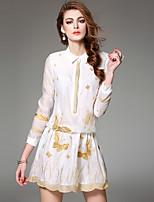 Ewheat® Women's Shirt Collar Long Sleeve Above Knee Dress-T2166