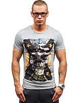 Men's Print Casual / Sport T-Shirt,Cotton Short Sleeve-Black / White / Gray