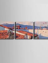 Moderne/Contemporain Autres Horloge murale,Carré Toile40 x 40cm(16inchx16inch)x3pcs/ 50 x 50cm(20inchx20inch)x3pcs/ 60 x