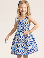 Girl's Cotton Summer Fashion Printing Sleeveless Princess Dress