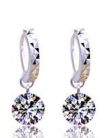 Women's Silver Shiny Simple Transparent Zircon Drop Earrings