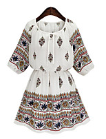Women's Casual/Daily / Plus Size Street chic Sheath Dress,Print Round Neck Above Knee ½ Length Sleeve White / Black Cotton Summer