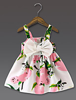Girl's Casual/Daily Floral Dress,Polyester Summer Pink / Yellow