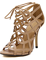 Women's Shoes PU Summer Peep Toe Sandals Party & Evening / Dress Stiletto Heel Lace-up Black / Purple / Almond