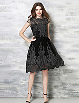 Women's Vintage / Simple Jacquard Lace Dress,Asymmetrical Knee-length Polyester