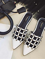 Women's Shoes PU Summer Closed Toe / Flats Sandals Outdoor / Office & Career Flat Heel Others Black / White / Silver