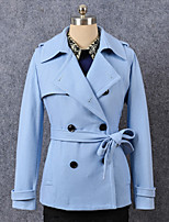 Women's Formal Simple Trench Coat,Solid Shirt Collar Long Sleeve Winter Blue / Red / Black / Yellow Wool Thick