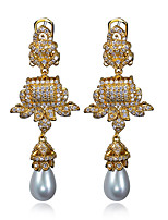 Drop Earrings Jewelry Earring Cubic Zircon Synthetic Pearl Platinum & 18K Gold Plated Coppr Vintage Women Earring