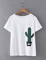 De las mujeres Simple / Chic de Calle Casual/Diario Verano Camiseta,Escote Redondo Estampado Manga Corta Algodón / Lino Blanco Fino